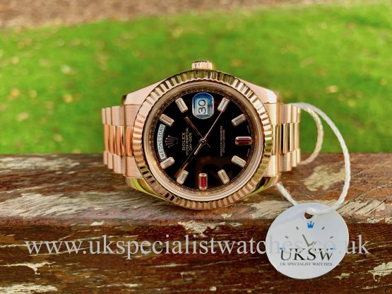 Rolex Day-Date II - 18ct Rose Gold - Baguette Diamond Ruby Dial - 218235