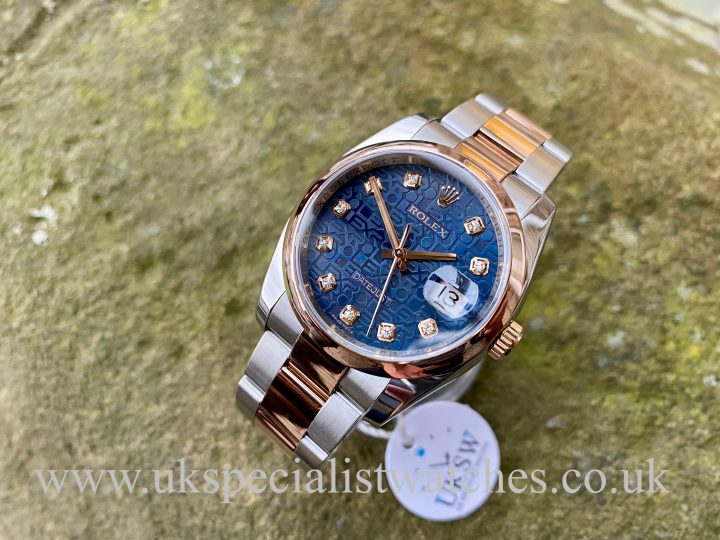 ROLEX DATEJUST 18CT ROSE GOLD & STEEL - BLUE DIAMOND DIAL -116201