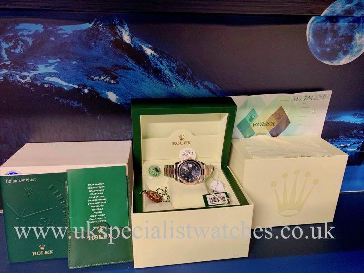 ROLEX DATEJUST 18CT ROSE GOLD & STEEL - BLUE DIAMOND DIAL -116201