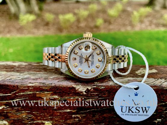 ROLEX LADIES DATEJUST – STEEL & 18CT GOLD – MOP DIAMOND DIAL – 69173