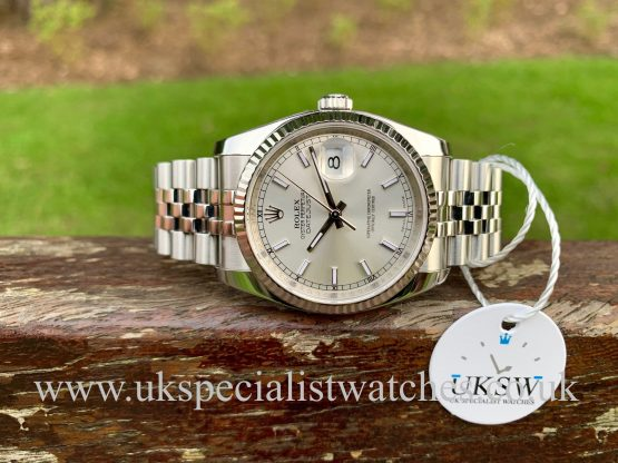 ROLEX DATEJUST GENTS – 36MM – SILVER DIAL – 116234