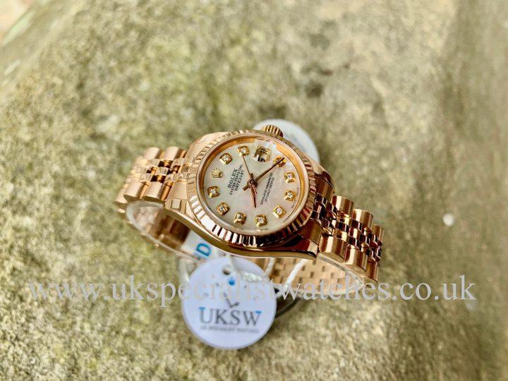 ROLEX DATEJUST LADIES 18CT ROSE GOLD – MOP DIAMOND DIAL – 179175