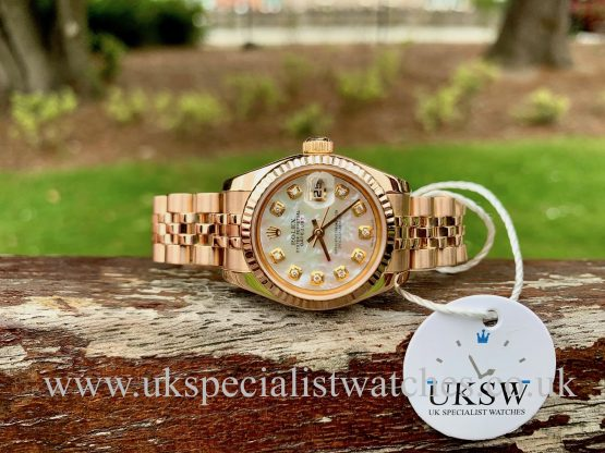 ROLEX DATEJUST LADIES 18CT ROSE GOLD – MOP DIAMOND DIAL – 179175