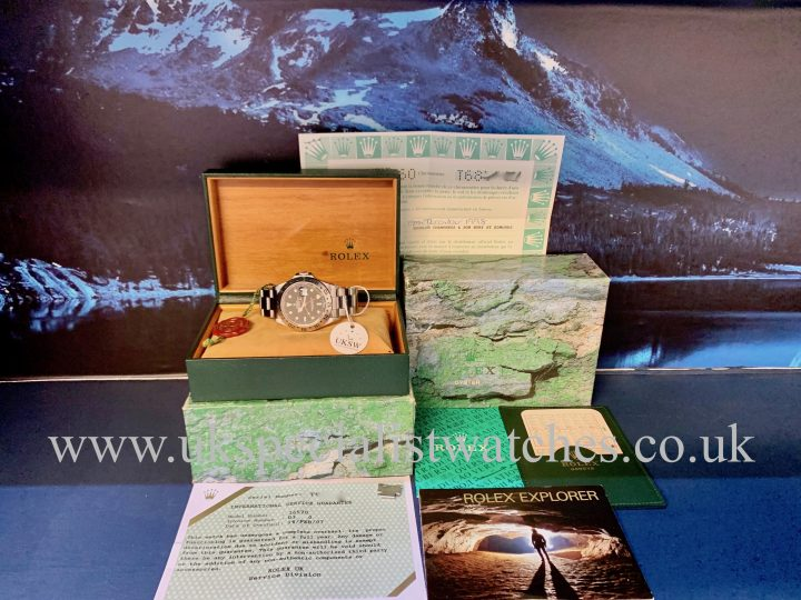 UK Specialist Watches have a final edition Rolex Explorer II Tritium dial full set 1998