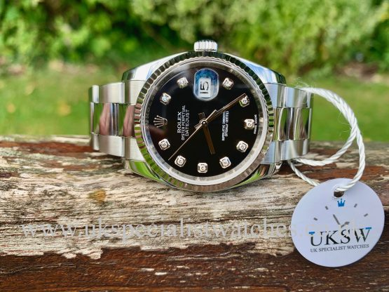 ROLEX DATEJUST GENTS – 36MM – BLACK DIAMOND DIAL – 116234