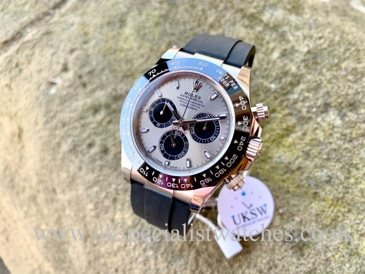 UK Specialist Watches have a Oysterflex Daytona in solid 18ct white gold