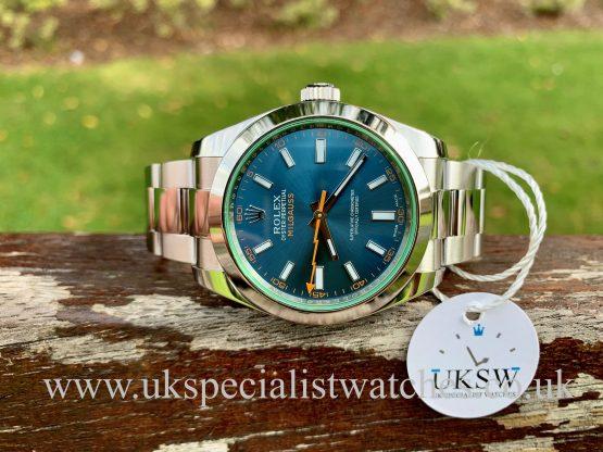 Blue Dial Rolex Milgauss Green Glass 116400GV