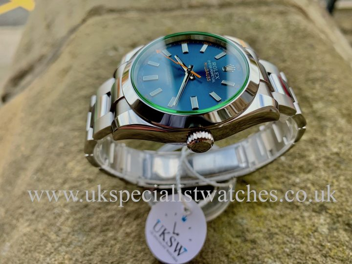 Blue Dial Rolex Milgauss Green Glass 116400GV