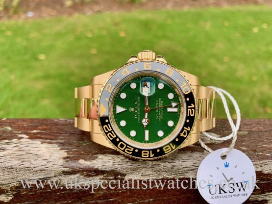 ROLEX GMT-MASTER II – 18CT YELLOW GOLD – GREEN DIAL – 116718LN