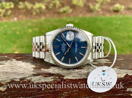 blue dial Rolex Datejust steel 36mm