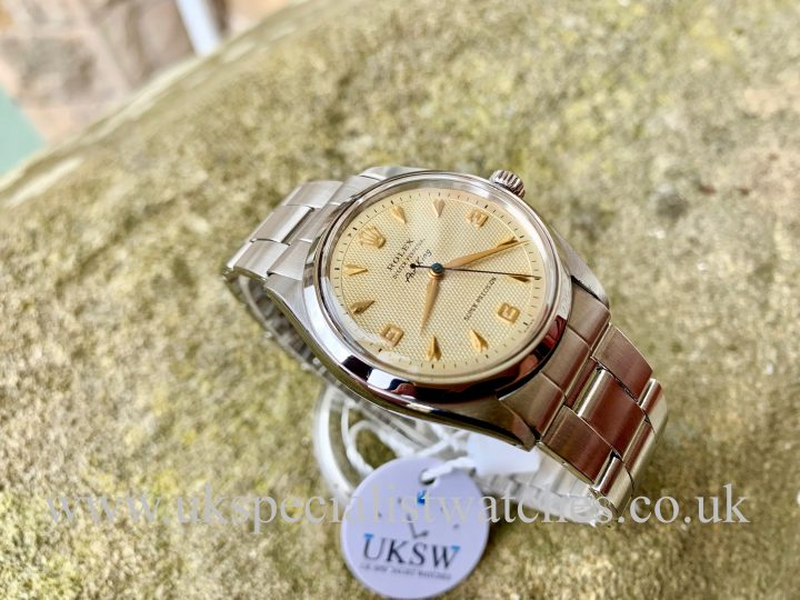 ROLEX 5500 AIR-KING – STAINLESS STEEL – 3 6 9 WAFFLE DIAL – VINTAGE 1960