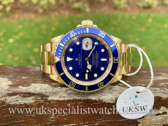 ROLEX SUBMARINER 16618 – 18CT GOLD – REHAUT BLUE DIAL