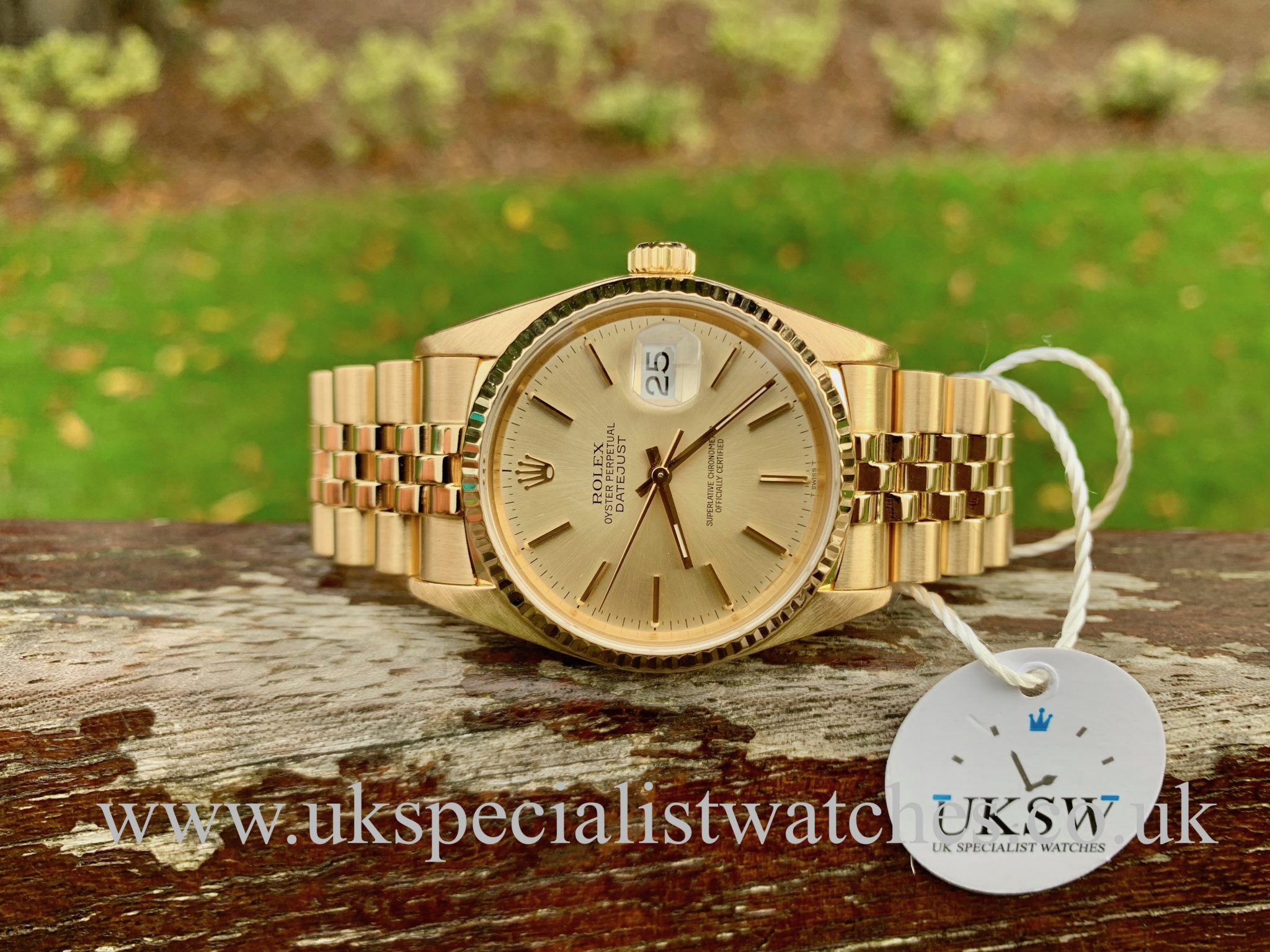 ROLEX DATEJUST – 18CT YELLOW GOLD – 16018 - FULL SET