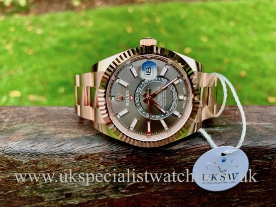ROLEX SKY-DWELLER – 18CT ROSE GOLD RHODIUM DIAL – 326935 – UNWORN