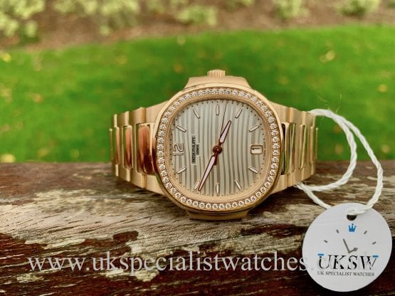 PATEK PHILIPPE NAUTILUS 7118/1200R - 18CT ROSE GOLD - DIAMOND BEZEL