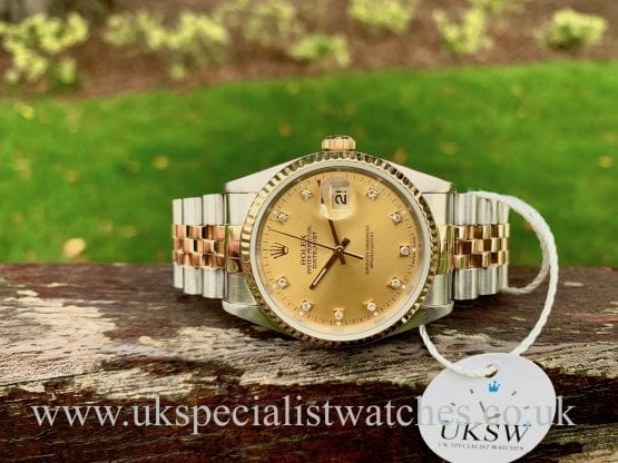 ROLEX DATEJUST 36MM – STEEL & GOLD – CHAMPAGNE DIAMOND DIAL – 16233
