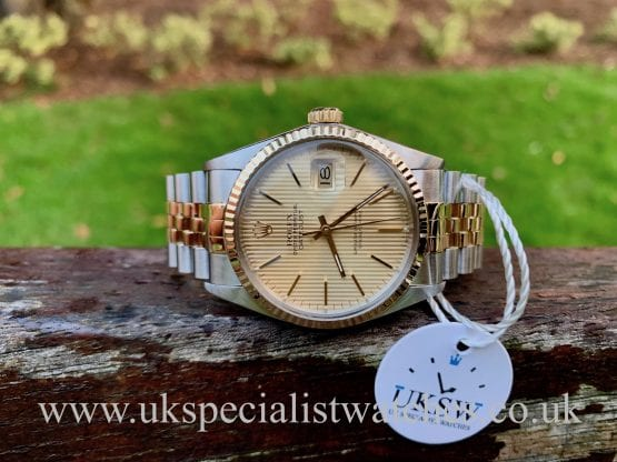 ROLEX DATEJUST 36MM – STEEL & GOLD – TAPESTRY DIAL – 16013