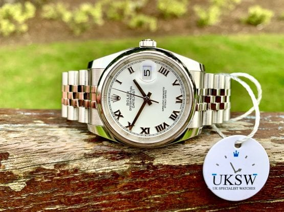 ROMAN ROLEX DATEJUST GENTS 36MM - 116200 - WHITE DIAL