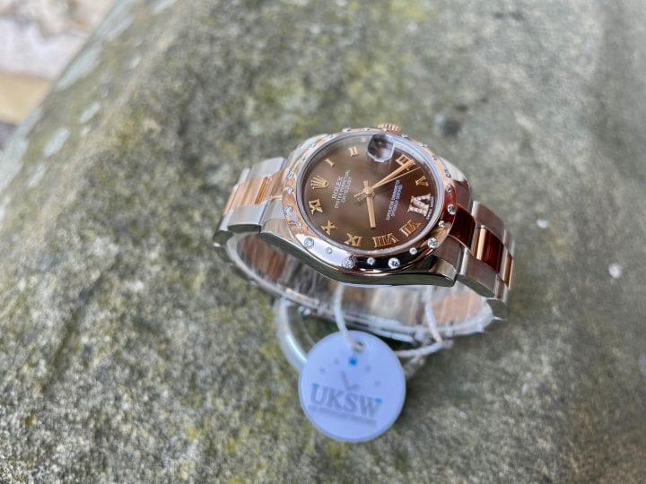 ROLEX DATE JUST- MID SIZE - ROSE GOLD - DIAMOND BEZEL - CHOCOLATE DIAL - 178341