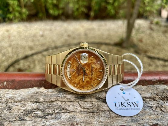 ROLEX DAY DATE OYSTERQUARTZ 18CT GOLD - RARE WOOD DIAL - 19018- VINTAGE 1981